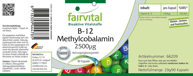 fairvital - 90 cápsulas vegetarianas de metilcobalamina B12 - 2.500 µg: Amazon.es: Salud y cuidado personal