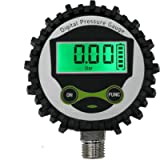 Digital Low Pressure Gauge with 1/4'' NPT Bottom Connector and Rubber Protector by Uharbour, 0-60 psi, Accuracy 1% .F.S.