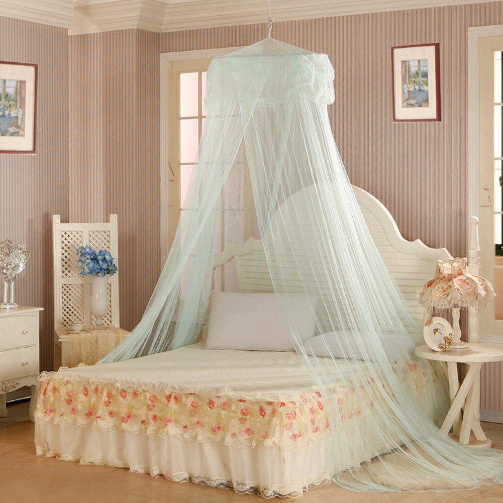 DE&QW European Children Pink Mosquito Net, Bedroom Dome Ceiling Round Princess Girl Bed Canopies Mosquito Curtain-E Full-size