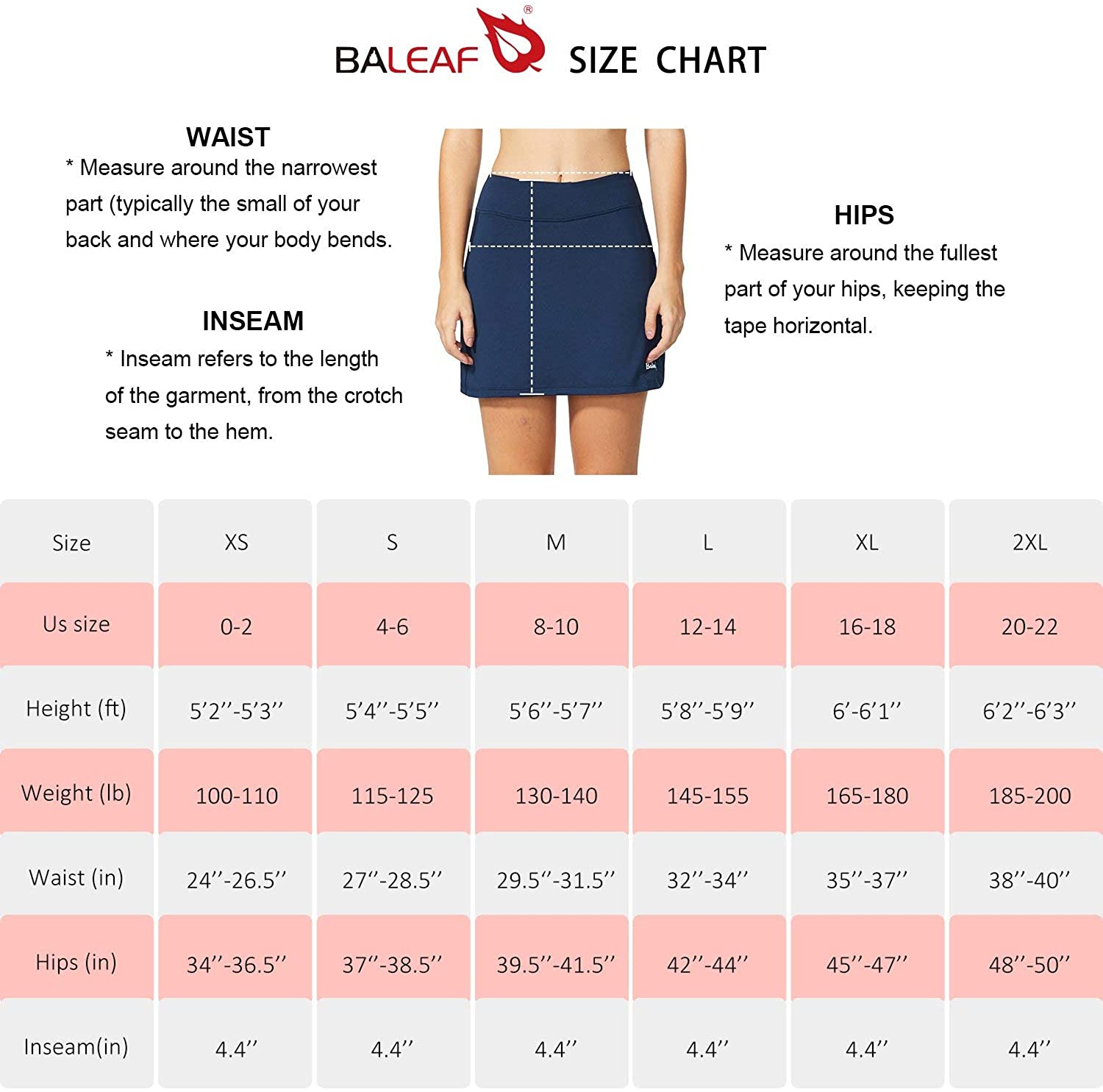 BALEAF Women's Athletic Skorts Lightweight Active Skirts with Shorts Pockets Running Tennis Golf Workout Sports: Clothing