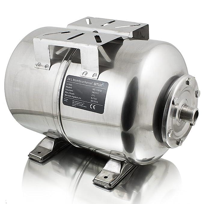 BITUXX® Edelstahl Membrankessel 24L Druckkessel Hauswasserwerk Kessel inkl Membran 1 Zoll Anschluss max. Druck 6 Bar