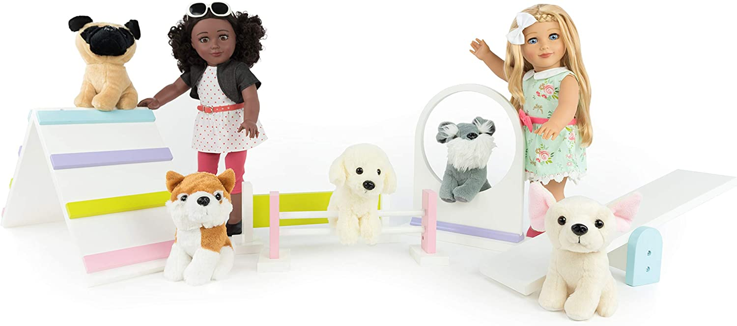 """Playtime by Eimmie Pets for 18"""" Dolls - Includes 5 Dogs and Other 18 Inch Doll Accessories - Doll Furniture"""