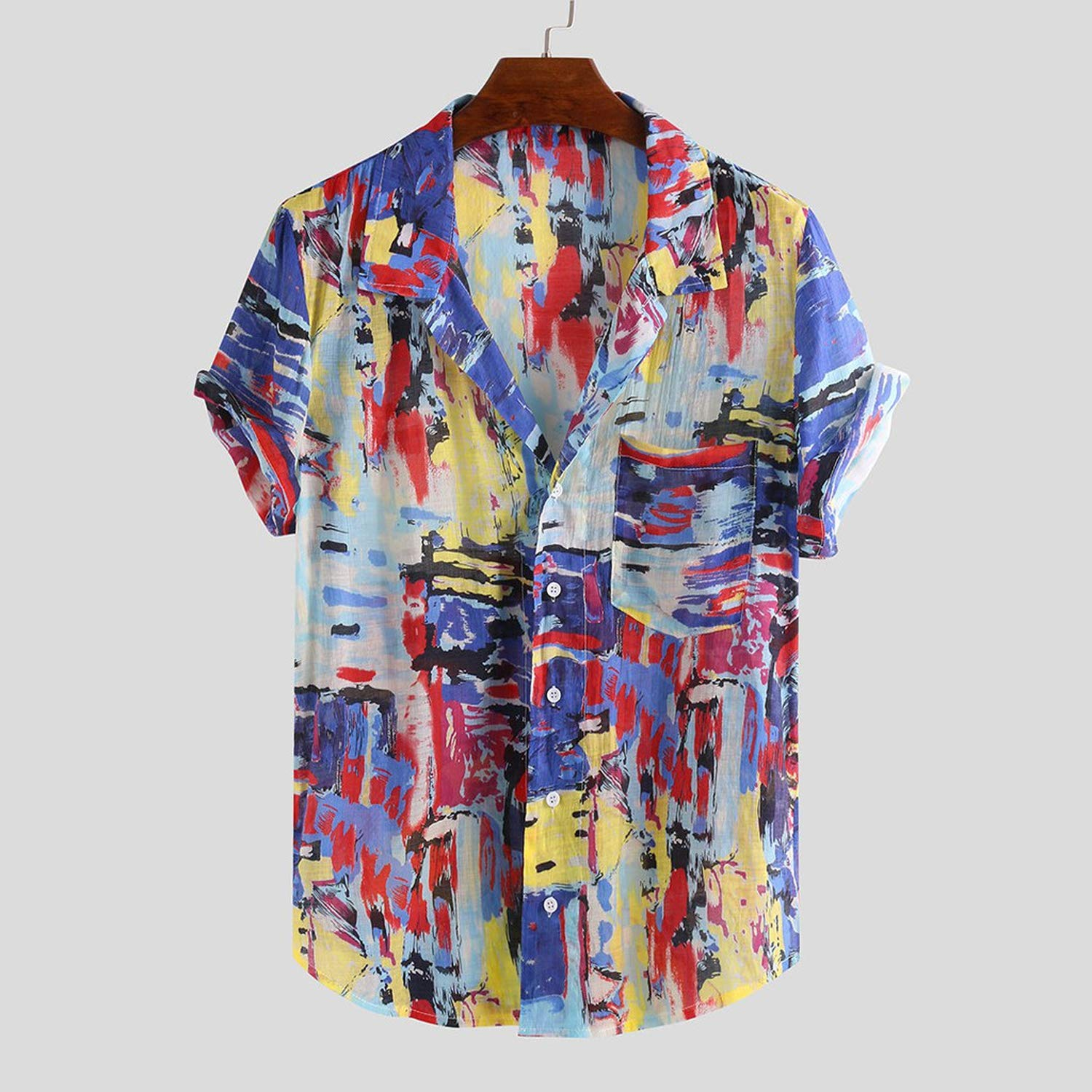 Mens Pure Cotton Colorful Unique Hawaii Style Summer Ethnic Pattern Turn Down Collar Short Sleeve Shirt Mens Clothing,Beige,XL,China