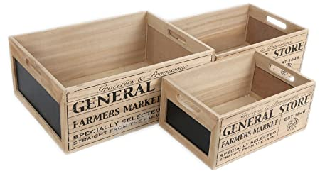 General Store Set Of 3 Vintage Nesting Wooden Chalkboard Crates Large Storage  Box Trays