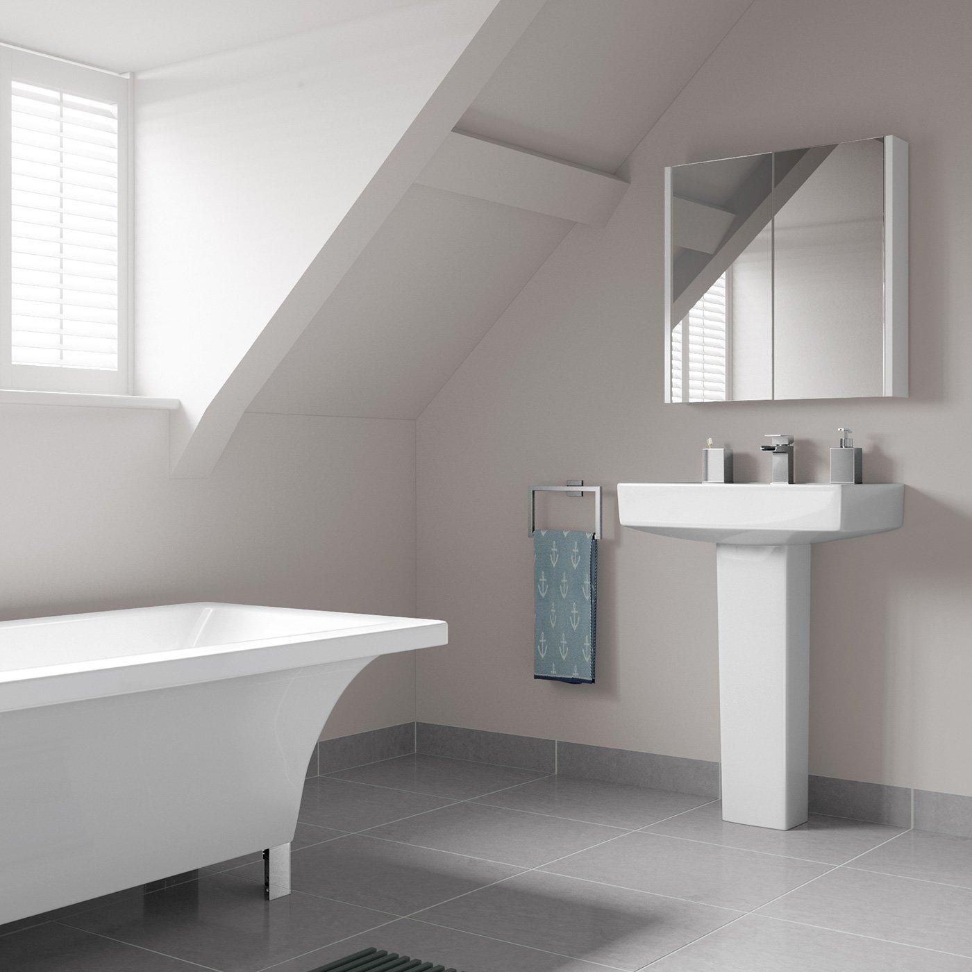 Soak Armadietto da Bagno con Specchio, Design Moderno, 600 x 650 mm ...