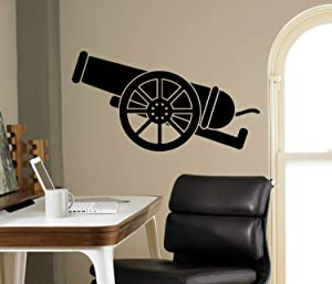 Place Ancient Cannon Wall Decal - Medieval Gun Vinyl Sticker Gunner Home Decor Ideas Room Interior Custom Wall Art Made in USA - 38x70 Inch