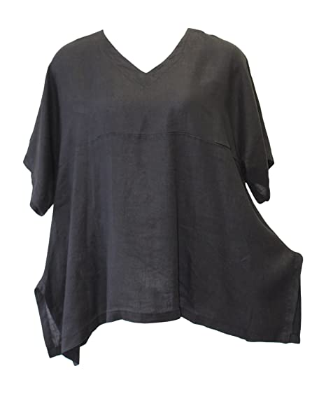 cc129f7f4a9 Match Point Women s Linen Oversized Black Kimono Tunic UPDATED SIZING at Amazon  Women s Clothing store