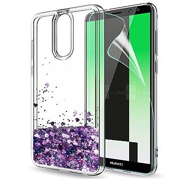 LeYi Funda Huawei Mate 10 Lite Silicona Purpurina Carcasa con HD Protectores de Pantalla,Transparente Cristal Transparente Gel Bumper Fundas Case ...