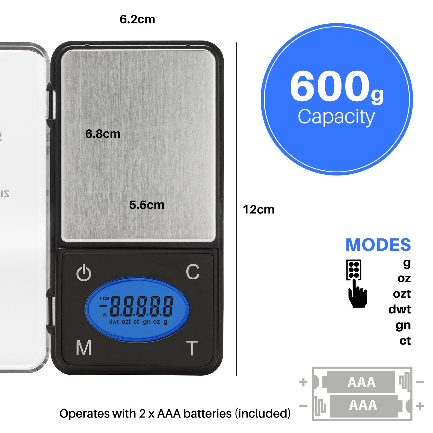 Smart Weigh ZIP600 Ultra Slim Digital Pocket Scale with Counting Feature, 600 x 0.1g by Smart Weigh (Image #7)