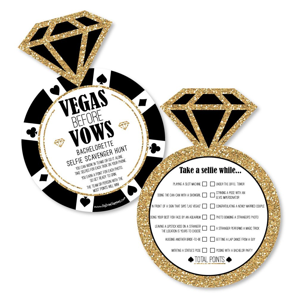 Vegas Before Vows - Selfie Scavenger Hunt - Las Vegas Bridal Shower Bachelorette Party Game - Set of 12 by Big Dot of Happiness