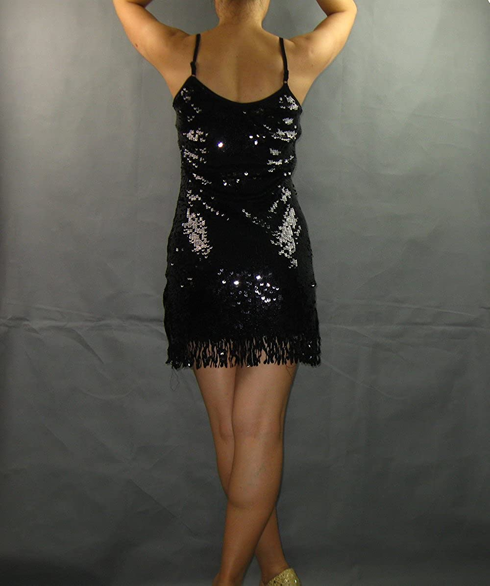 54a79066 Amazon.com: Sequin Tassel A Line Great Gatsby Holiday Halloween Party Dance  Dresses Black: Clothing