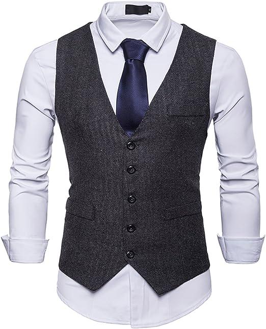 RuiXie Herren Urban Basic Tweed Kariert Schmale Weste mit Zweireihige Knopfleiste BA0082 black S