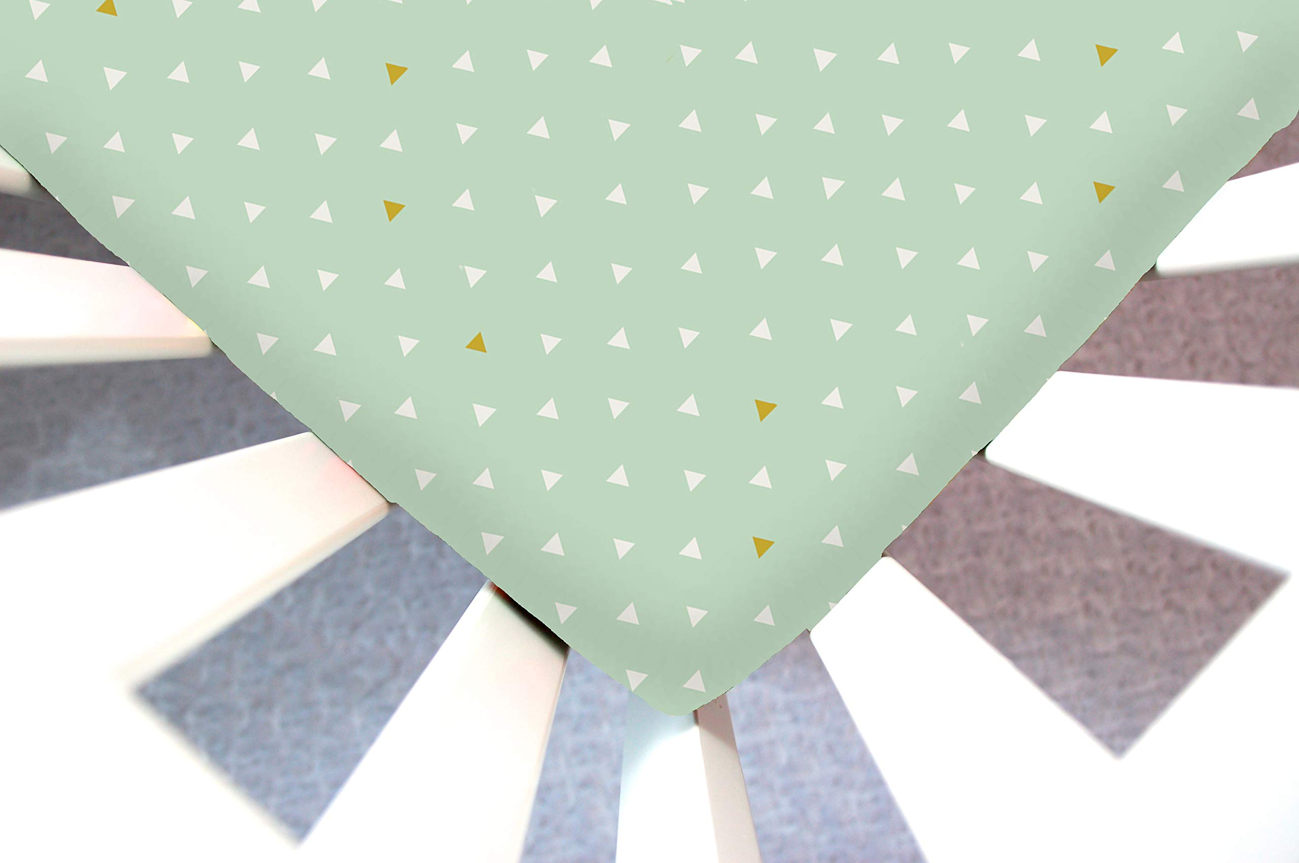 Little Moose by Liza Handmade Sheet Made to Fit Baby Bjorn Cradle in Mint Triangle Tokens (White and Gold Triangles on Mint). This Sheet was Not Created or Sold by Baby Bjorn. by Little Moose By Liza LLC