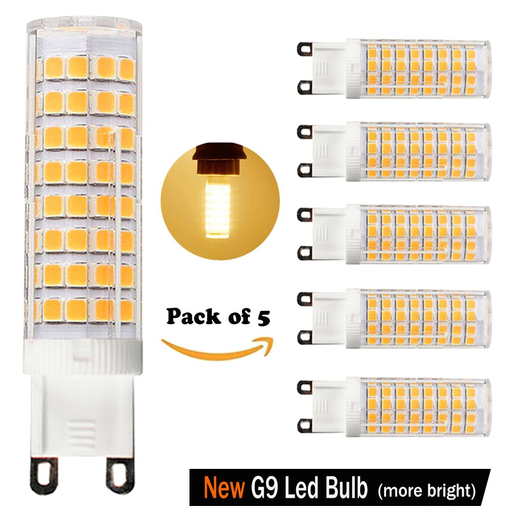 [5-Pack] Dimmable G9 LED Bulb,8W Equivalent to 100W or 75W Halogen Bulb, Warm White 3000K, G9 Bi-Pin Double Loop Base, 360 Omni-Direction Beam Angle,AC 110V/120V/130V