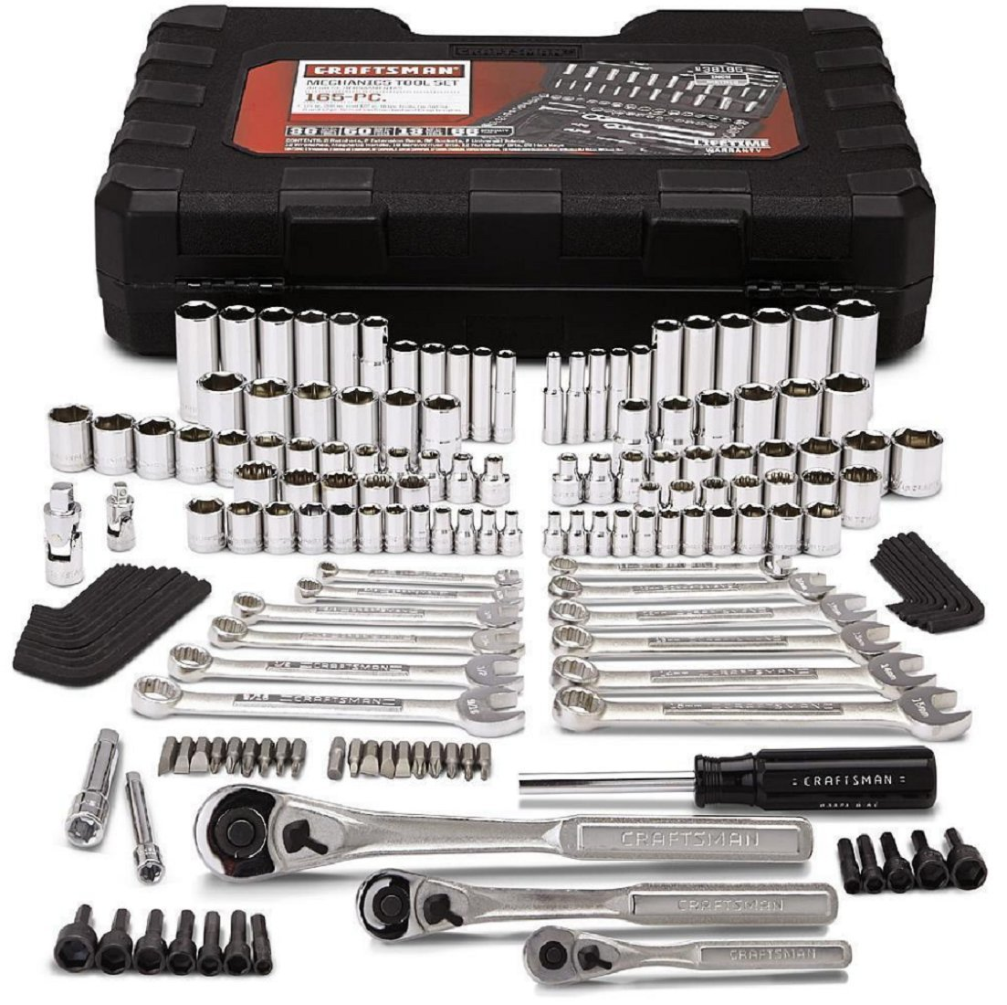 Craftsman Mechanics Tool Set Kit Wrenches Sockets Ratchet SAE Metric 165 Pc Case