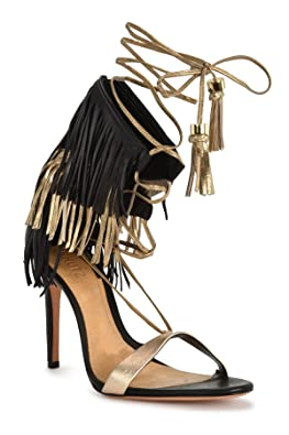 3307b7e387fd Amazon.com  SCHUTZ Maira Black Leather Gold Tassel   Fringe High Heel Tie  up Sandals Pumps  Shoes