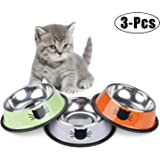 Legendog Cat Bowl Pet Bowl Stainless Steel Cat Food Water Bowl with Non-Slip Rubber Base Small Pet Bowl Cat Feeding Bowls Set of 3