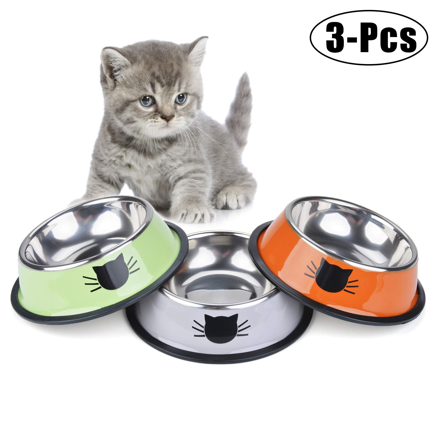 Legendog Cat Bowl Pet Bowl Stainless Steel Cat Food Water Bowl with Non Slip Rubber Base Small Pet Bowl Cat Feeding Bowls Set of 3