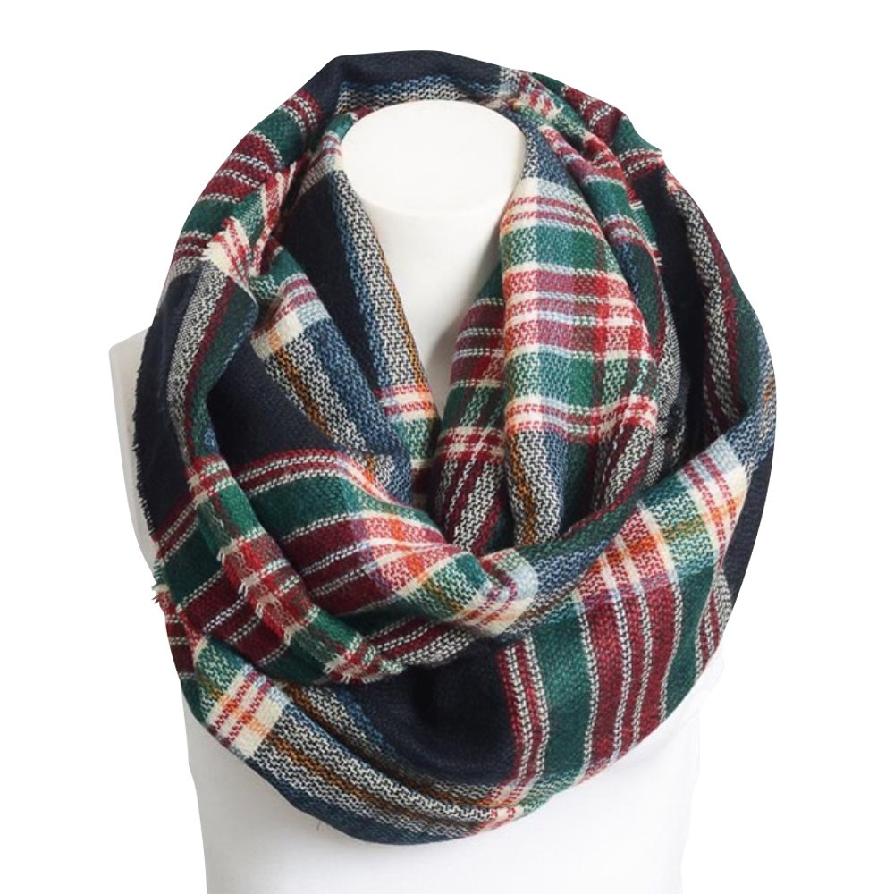 Boho Now Soft Frayed Colorful Flannel Infinity Scarf