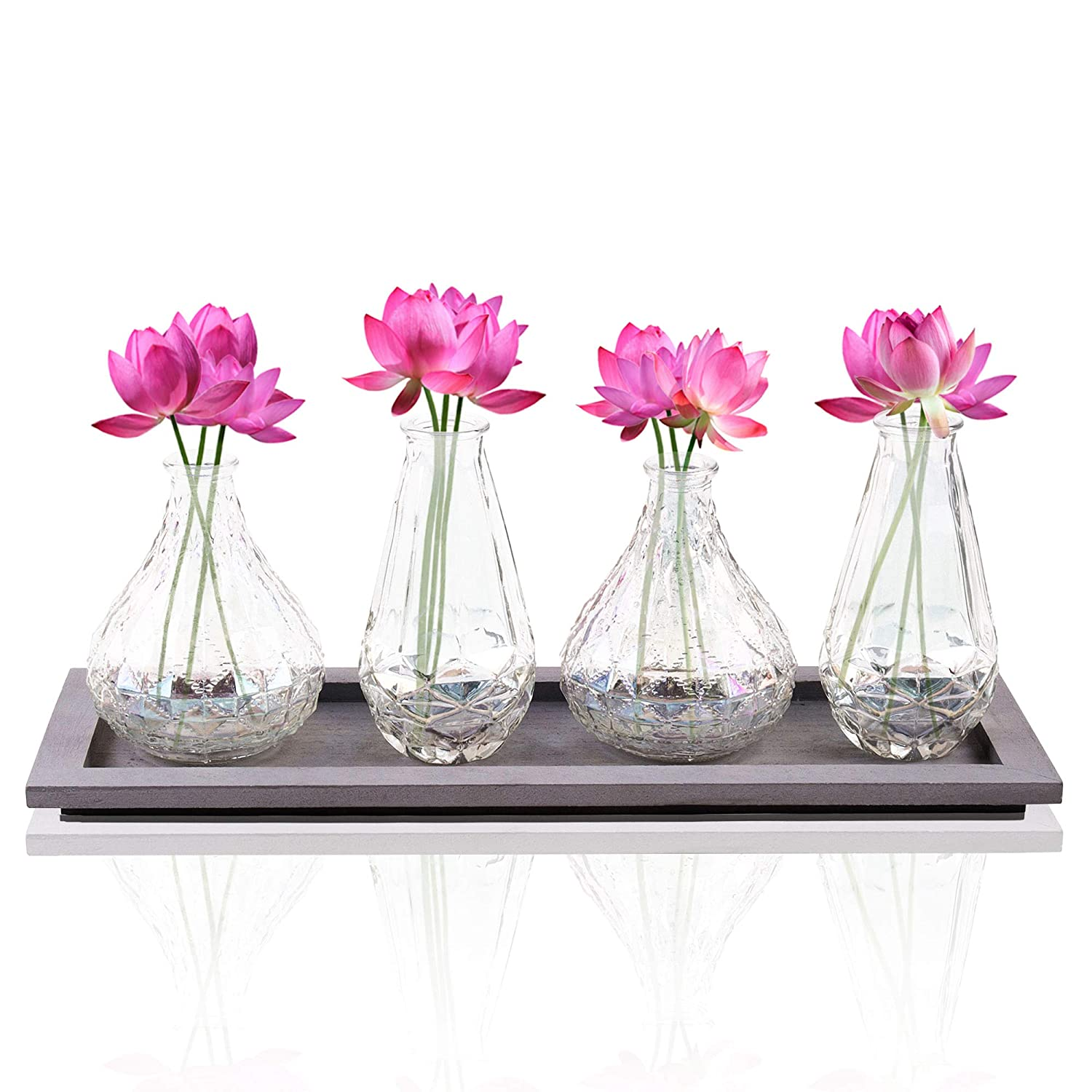 225 & Bud Flower Vases in Wooden Tray Set - 4-Piece Assorted Iridescent Finish Glass Vases in Caddy Home Decor Set for Windowsill Accessory Decorative ...