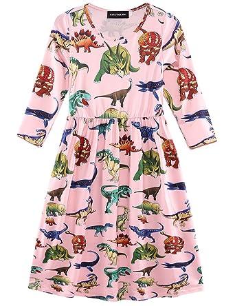 c078aa72d781 Fancyqube Kids Girls Cute Dinosaur Print Long Sleeve Dress Short Shirt  Dresses (Pink_mid, 130