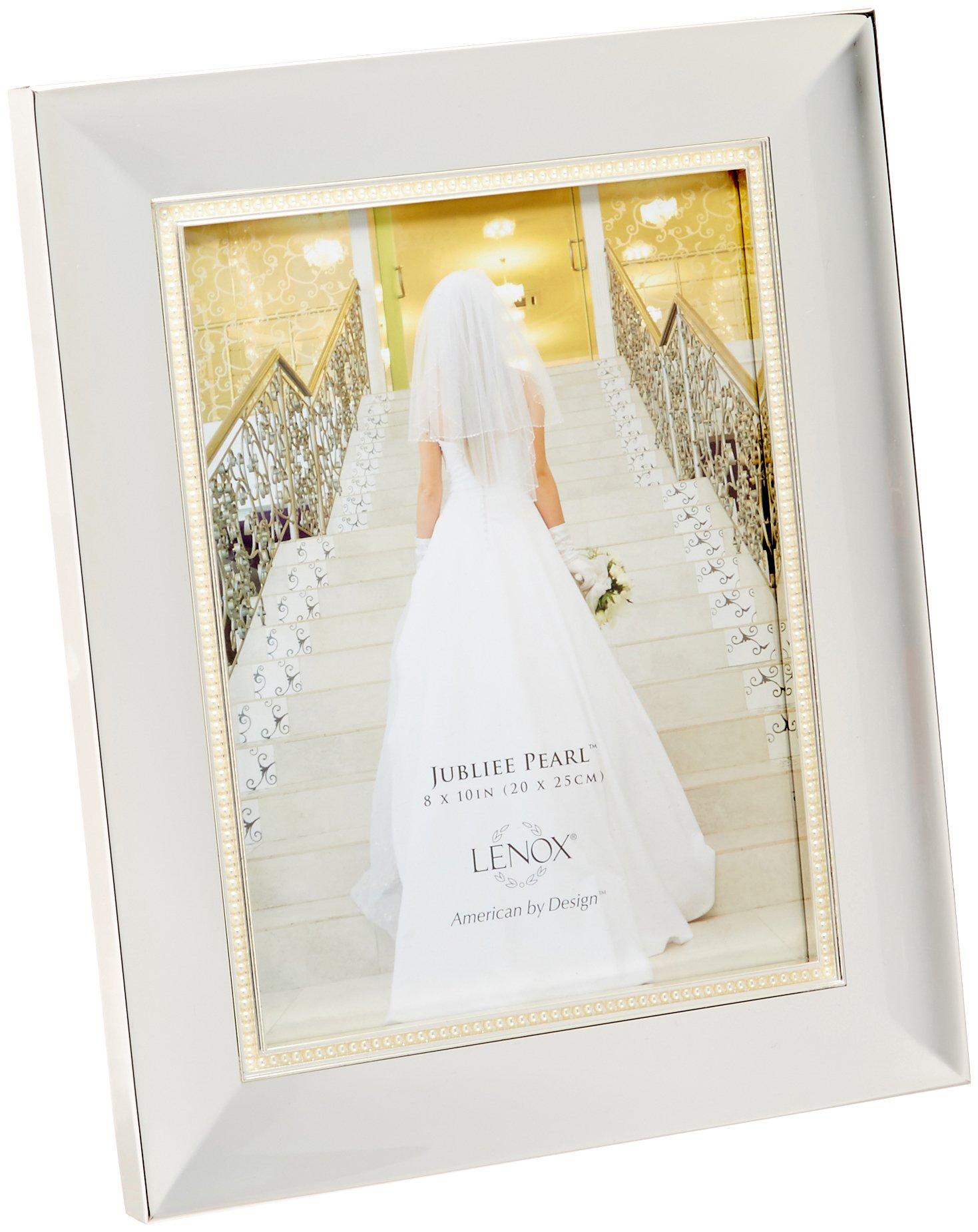 "Lenox Jubilee Pearl 8x10 Frame - Crafted of silver-plated metal Holds an 8"" x 10"" photograph Height: 12 1/2"" - picture-frames, bedroom-decor, bedroom - 710SKcPoUnL -"