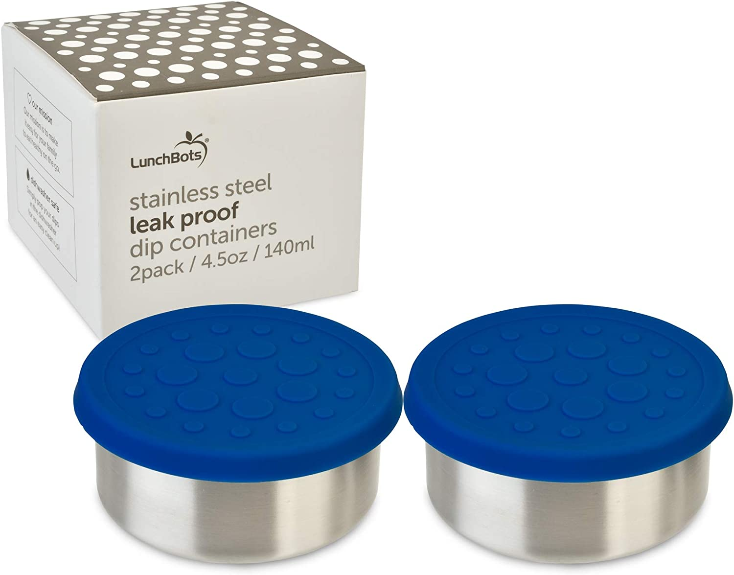 LunchBots 4.5oz Leak Proof Snack and Side Dish Containers - Set of 2 (4.5 oz) - Spill Proof in Bags and Bento Boxes - Food Grade Stainless Steel and Silicone Lids - Dishwasher Safe - Blue Set