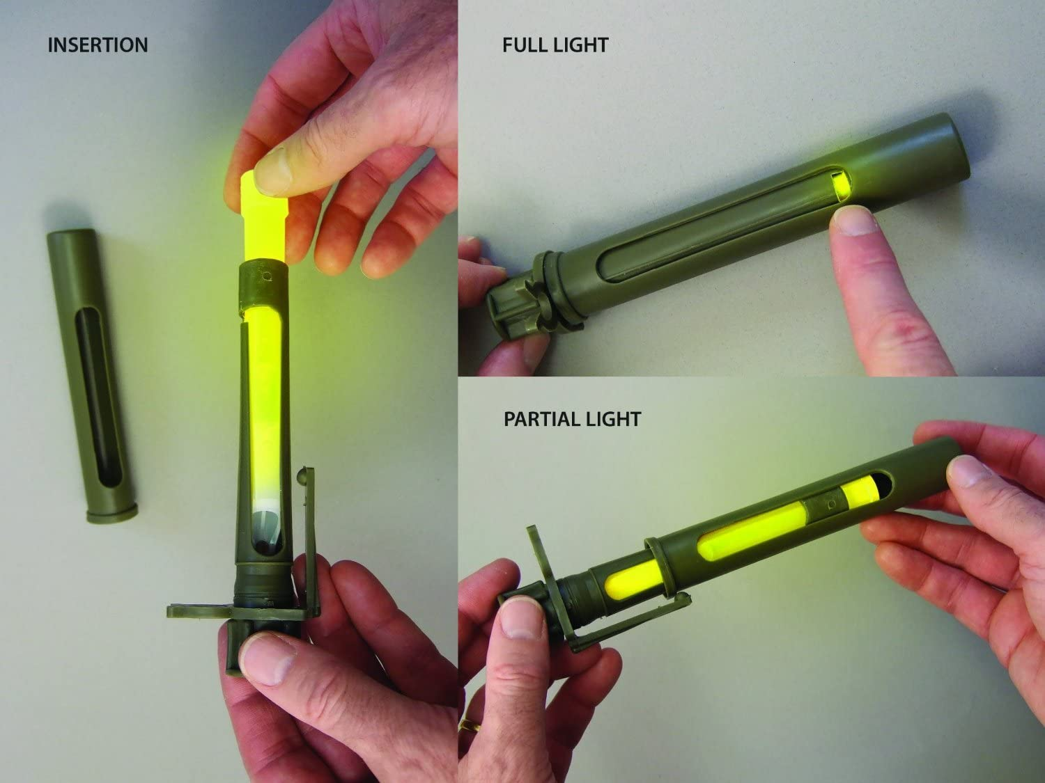 """Airsoft  6"""" Military ChemLight Glowstick Green Glow Stick Pack Of 3 15cm"""
