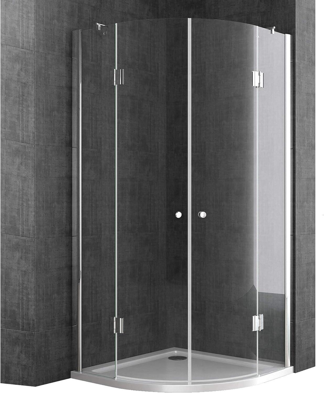 doporro cabina de ducha diseño Rav02K 90x90x190cm mampara con plato de ducha plano de 4 cm en blanco   vidrio transparente de seguridad   Válvula de desagüe: Amazon.es: Bricolaje y herramientas