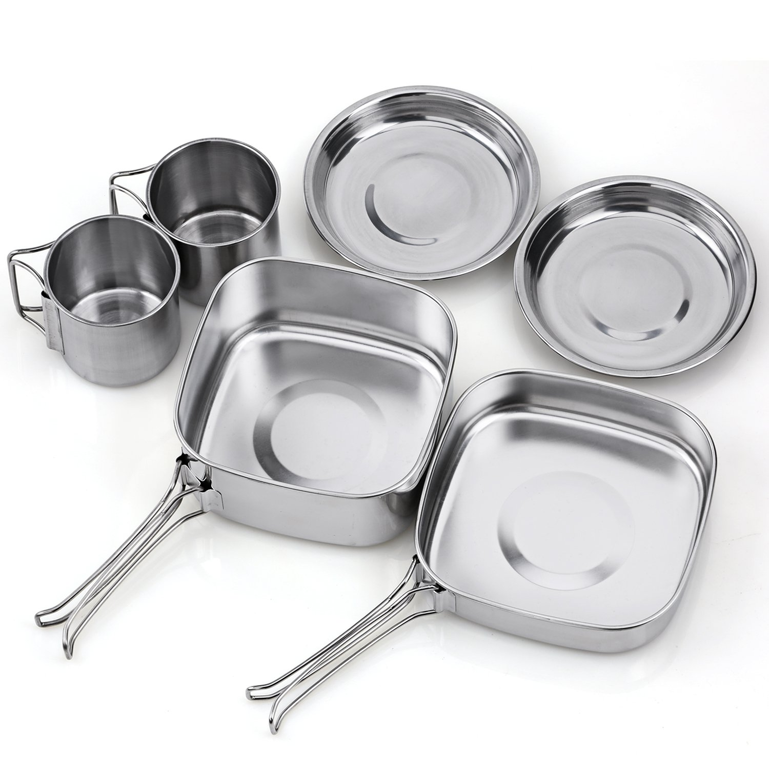 TAFOND Backpacking Camping Cookware Picnic Stainless Steel Cooking Cook Set for Hiking