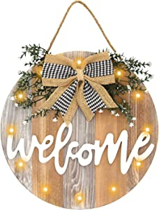 Auing Welcome Sign Front Door Decor, Farmhouse Front Porch Decor Rustic Wooden Wall Sign with 12 LED Lights, Home Sign Door Decorations Hanging Outdoor for Christmas(NO Battery)