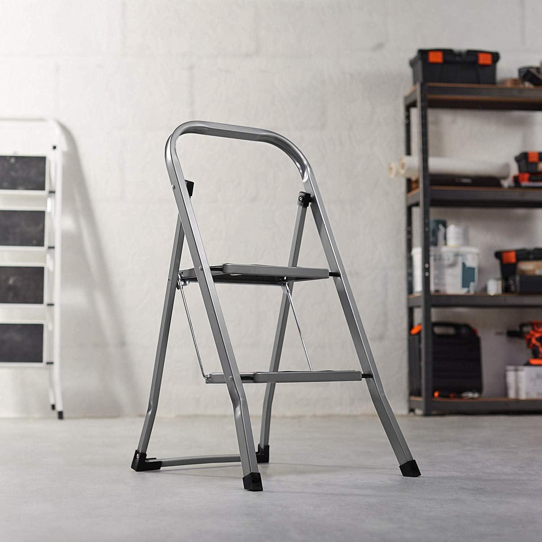 rutschfeste F/ü/ße faltbar leicht zu verstauen Trittleiter aus Stahl mit 2 Stufen Idea