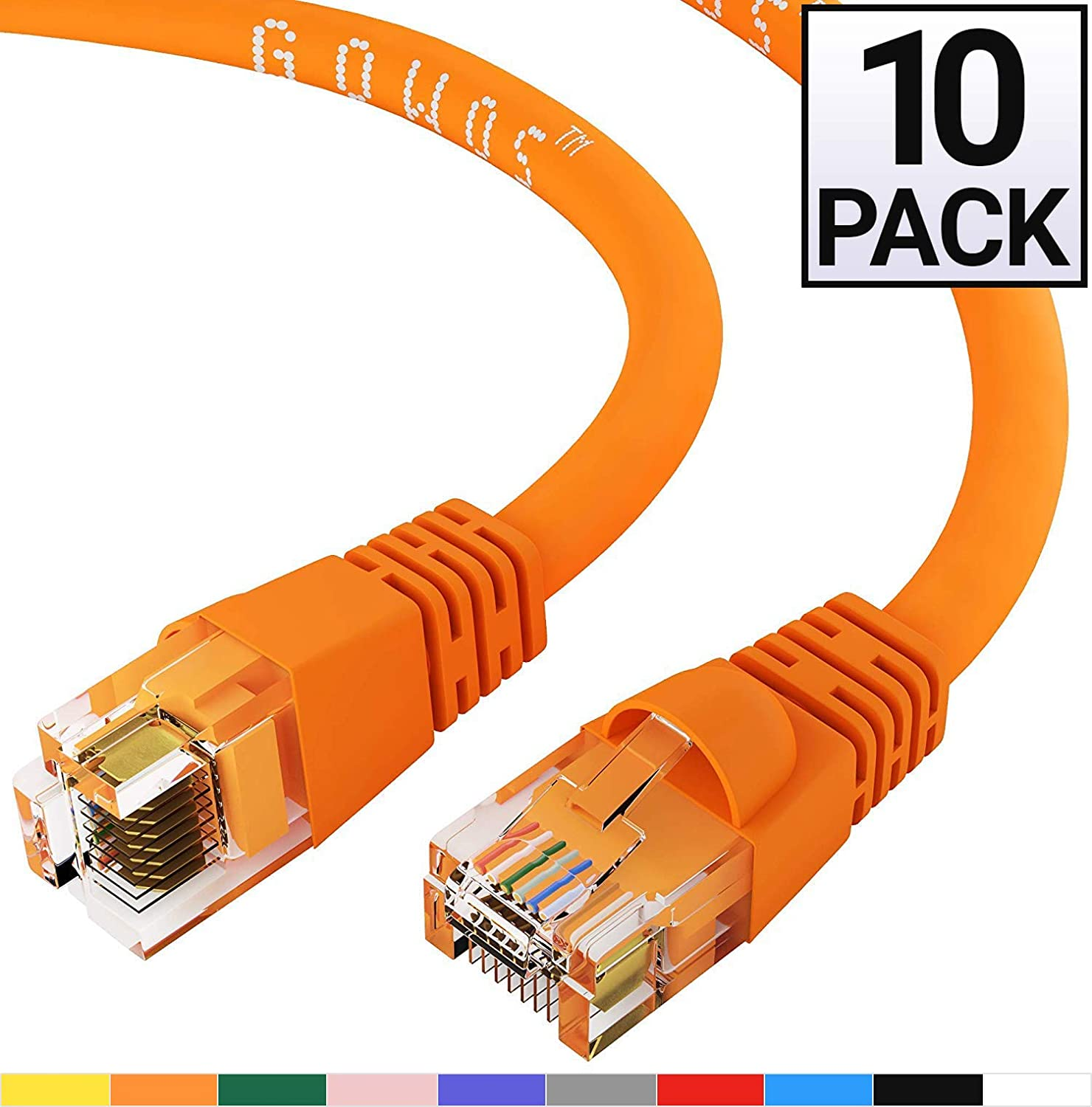 GOWOS 10-Pack Available in 28 Lengths and 10 Colors RJ45 10Gbps High Speed LAN Internet Patch Cord Cat6 Ethernet Cable Computer Network Cable with Snagless Connector 3 Feet - Orange UTP