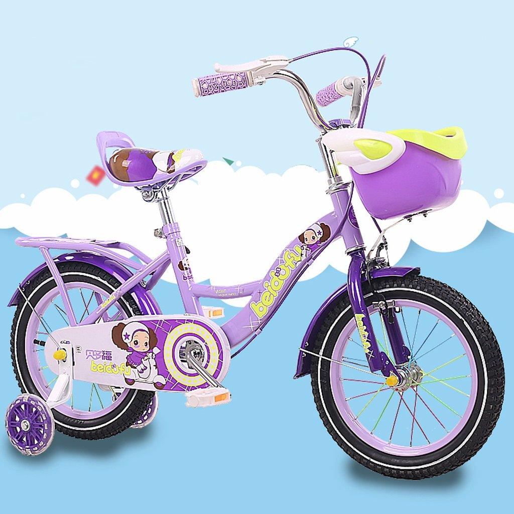 子供用自転車12/18インチベビーガールベビーキャリア2-4-6-9赤ちゃんサイクリング高炭素鋼、紫/ピンク/赤 (Color : 18 inch purple) B07D1HN9Z6