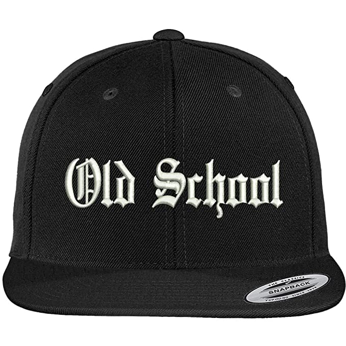 6bb9acb28469f Trendy Apparel Shop Old School Old English Embroidered Flat Brim Classic  Snapback Cap - Black