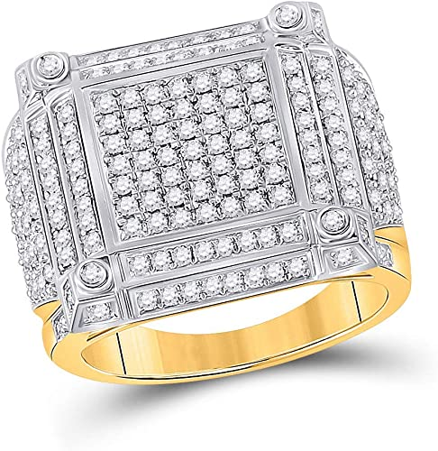 10kt Yellow Gold Mens Round Diamond Square Cluster Ring 1//8 Cttw