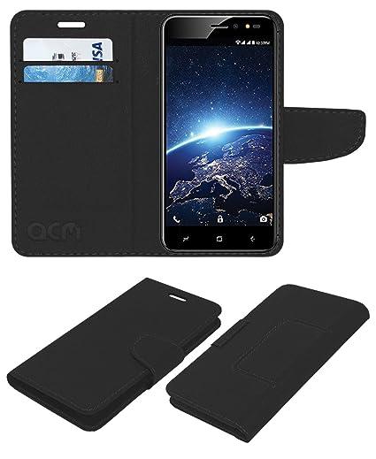 timeless design 44d40 a3451 Acm Leather Flip Wallet Case for Intex Indie 15 Mobile Cover Black