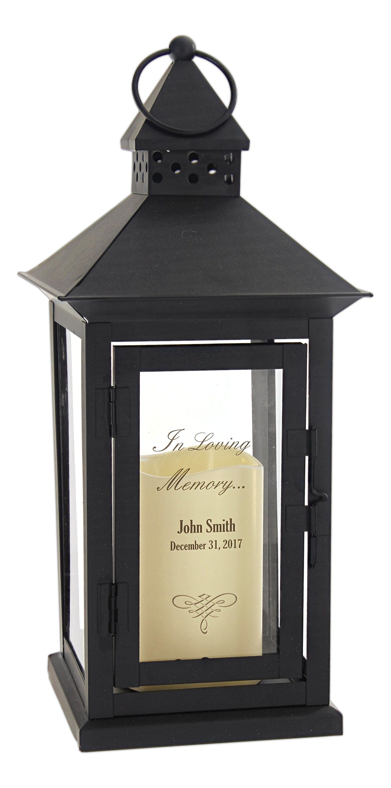 The Gerson Company Everlasting Glow Indoor/Outdoor 6'' x 14'' Lantern and LED Candle, Timer, Bisque (15-Inch Personalized Memorial)
