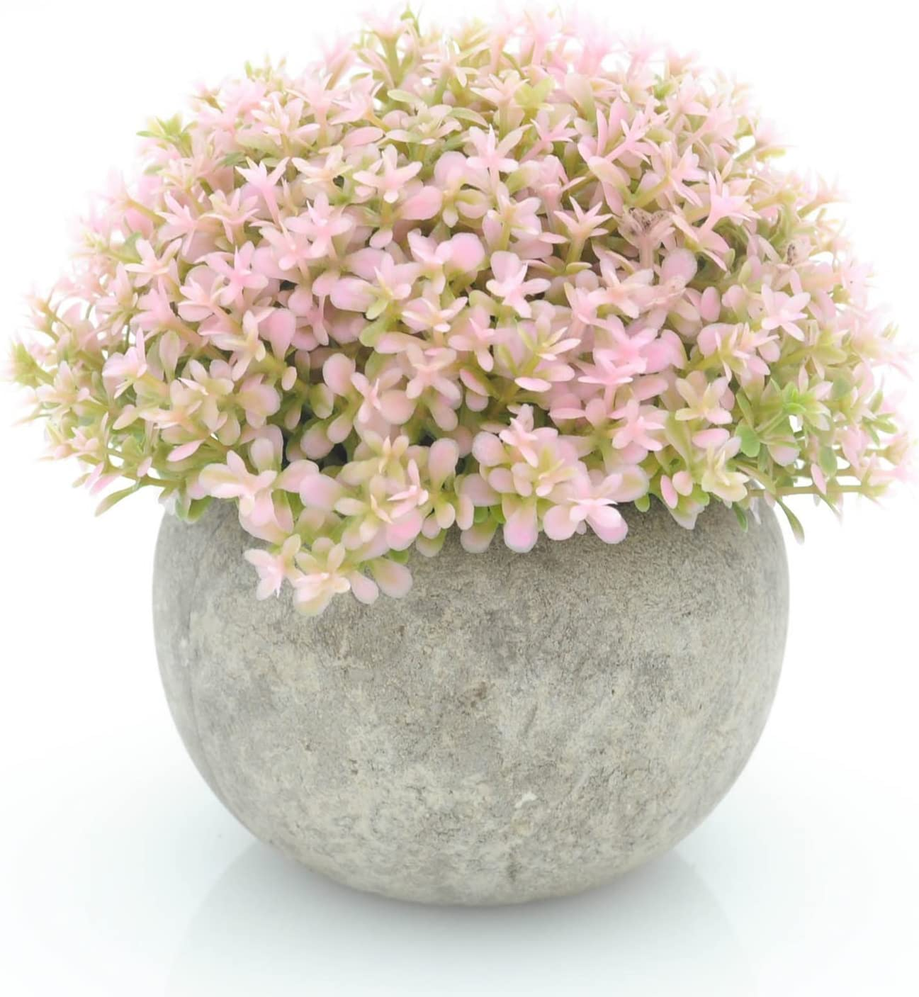 Velener Mini Plastic Artificial Pine Ball Topiary Plant with Pots for Home Decor (Pink Clover)
