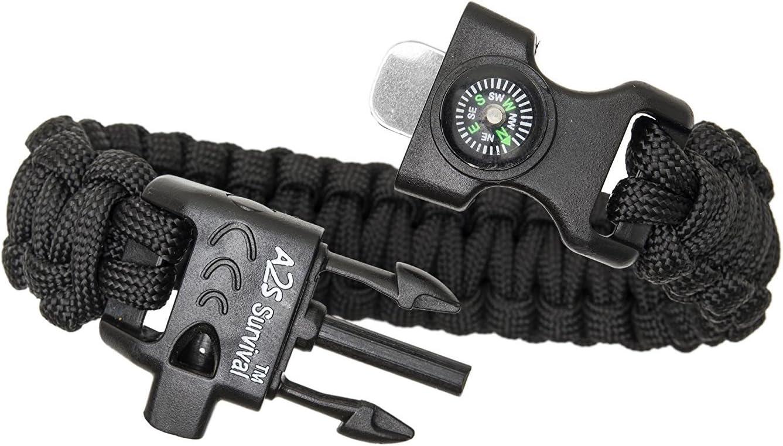 Verde//Verde Juego de equipo de supervivencia con br/újula integrada cuchillo de emergencia y silbato A2S Proteccion Paracord Pulsera K2-Peak encendedor de fuego
