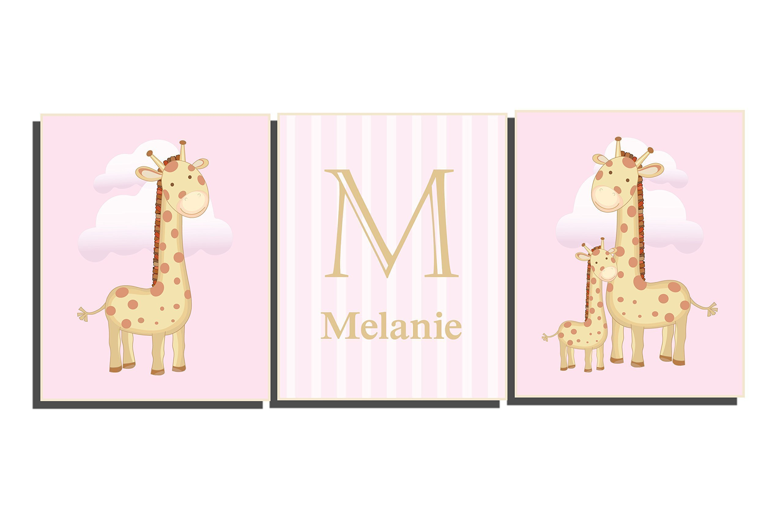 Baby Girl Nursery Wall Letters Customize Name Initial Pink Brown Tan Art Set of 3 Unframed Prints Giraffe Pictures 8 x 10 inch