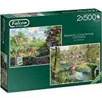 Jumbo 11261 Falcon de Luxe-Romantic Countryside Cottages 2 x 500 Piece Jigsaw Puzzles, Multi