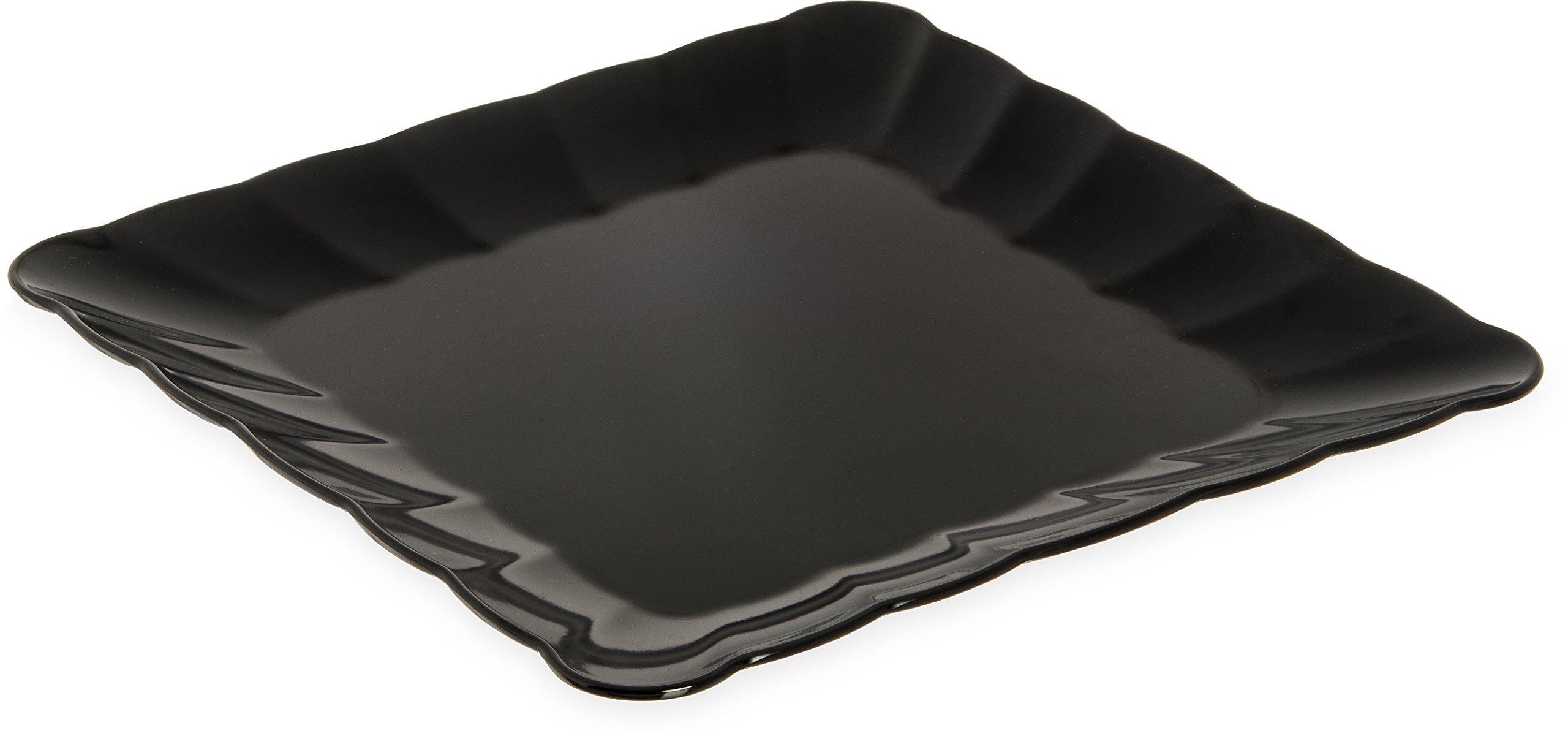 Carlisle 792403 Displayware Melamine Square Small Scalloped Platter, 1.25'' x 14.5'' x 14.5'', Black (Case of 4)