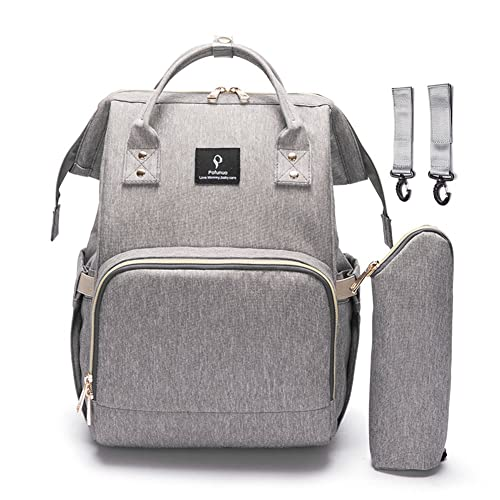 Diaper Tote Bag, HowiseAcc Nappy Changing Backpack Mummy Daddy Multi-Function Travel Backpack Organizer with Bottle Insulated Bags for Baby Care   Waterproof, Large Capacity, Stylish and Durable - Grey
