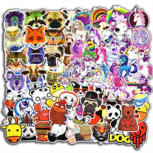 115 Pcs Animals and Unicorn Stickers for Laptop Car Luggage