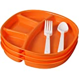 Ruchi Four Partition Square Plates With Fork and Spoon, 9-Pieces, Orange