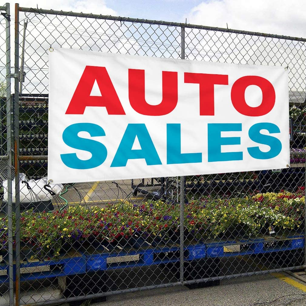 Vinyl Banner Multiple Sizes Auto Sales Red Blue Car Repair Shop Automotive Outdoor Weatherproof Industrial Yard Signs 8 Grommets 48x96Inches