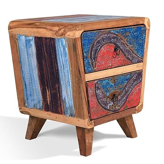 Noche Mesa/cómoda pequeña teca madera Rec. Barco Madera - ovalado ...