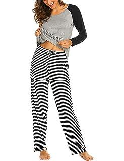 Ekouaer Pajamas Womens Striped Short/Long Sleeve Sleepwear Soft PJ Set with Pockets (S