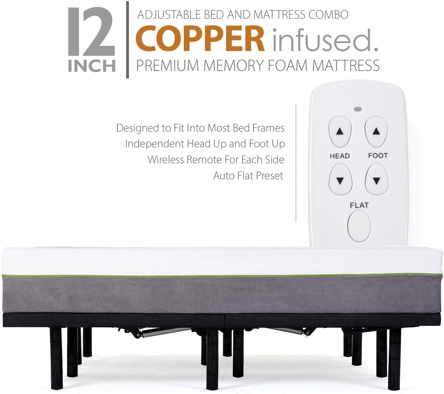 Adjustable Bed Frame and 12 Inch Copper Infused Cool Memory Foam Mattress Medium Firm Feel CertiPUR-US Certified Full